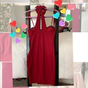 Sequin Hearts Dresses - red mini dress w side slit for the holidays